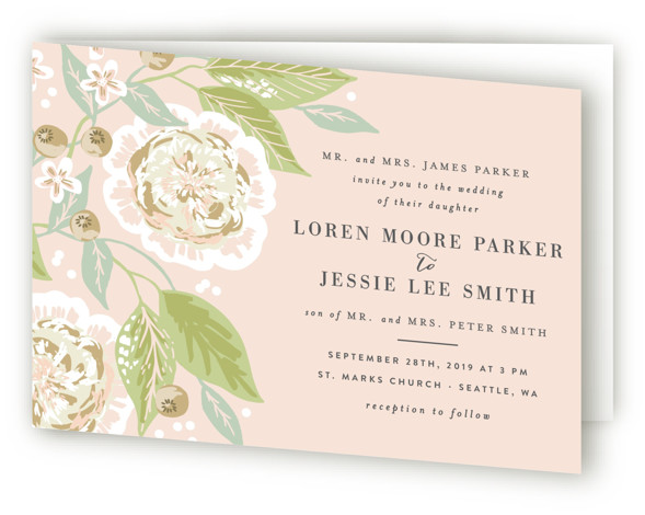 This is a landscape botanical, floral, hand drawn, rustic, pink Savvy Wedding Invitations by Alethea and Ruth called Climbing Rose with Standard printing on Signature in Four Panel Fold Over (Message Inside) format. This wedding invite features flowers, leaves and ...