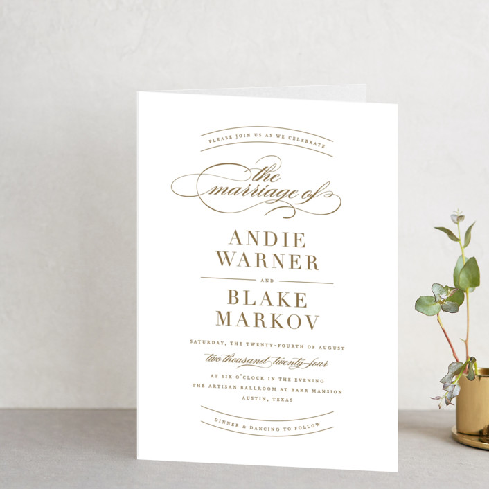 """divine"" - Elegant, Formal Four-panel Wedding Invitations in Gilded Gold by Jennifer Postorino."