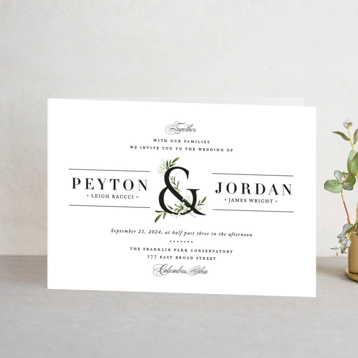 """Adorned Ampersand"" - Four-panel Wedding Invitations in Cotton by Jennifer Postorino."