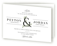 This is a black and white four panel wedding invitation by Jennifer Postorino called Adorned Ampersand with standard printing on signature in four-panel.