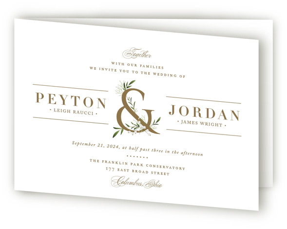 This is a landscape floral, rustic, white, gold Savvy Wedding Invitations by Jennifer Postorino called Adorned Ampersand with Standard printing on Signature in Four Panel Fold Over (Message Inside) format. This simple and elegant wedding invitation features classic type and ...