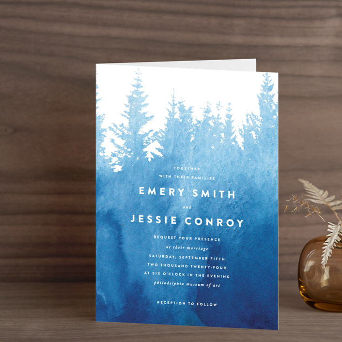 """""""misty forest"""" - Rustic, Hand Drawn Four-panel Wedding Invitations in Navy by Ariel Rutland."""