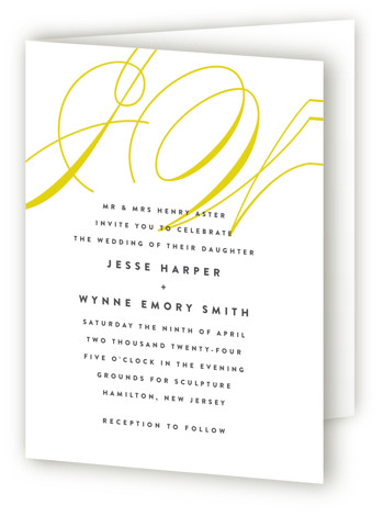 This is a portrait bold and typographic, classical, elegant, formal, modern, yellow Savvy Wedding Invitations by Ariel Rutland called Twirl Monogram A with Standard printing on Signature in Four Panel Fold Over (Message Inside) format. Elegant and swirly initials accent ...