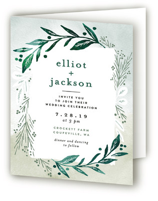 Dip dyed foliage Four-Panel Wedding Invitations