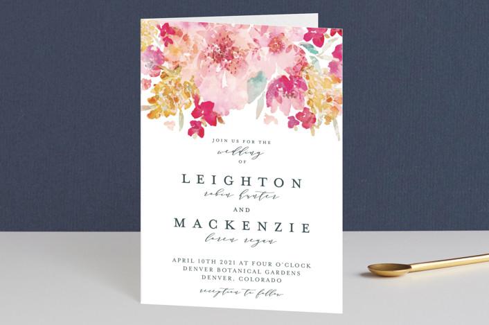 """Spring Garden"" - Four-panel Wedding Invitations in Petal by Grace Kreinbrink."
