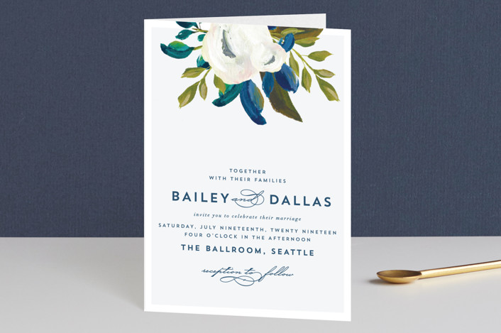 """Our Something Blue"" - Floral & Botanical, Rustic Four-panel Wedding Invitations in Ocean by AK Graphics."