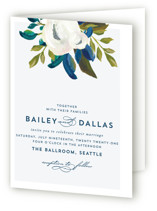 This is a blue four panel wedding invitation by AK Graphics called Our Something Blue with standard printing on signature in four-panel.