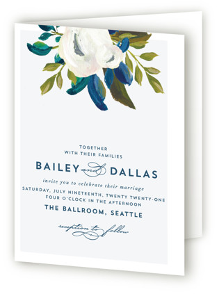 Our Something Blue Four-Panel Wedding Invitations