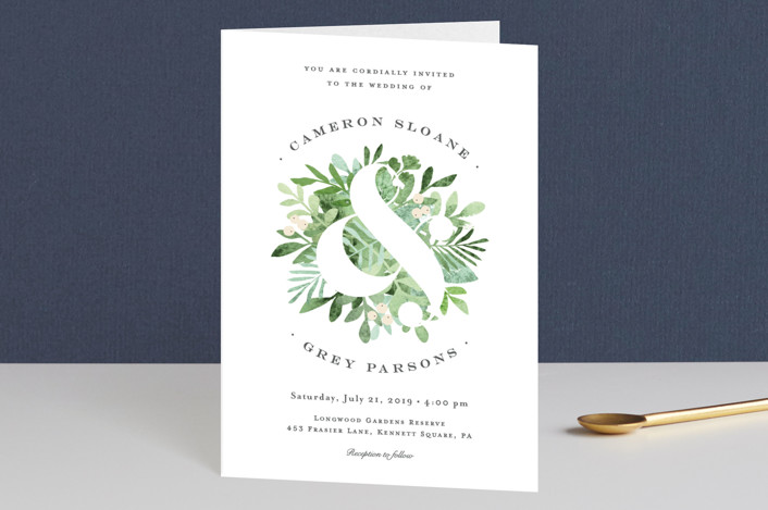 """Leafy ampersand"" - Rustic, Floral & Botanical Four-panel Wedding Invitations in Mint Leaf by Jennifer Wick."