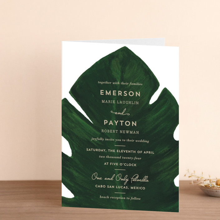 """Palm"" - Four-panel Wedding Invitations in Classic Palm by Kaydi Bishop."