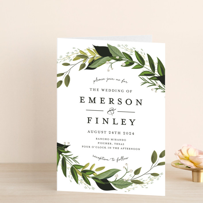 """Vines of Green"" - Floral & Botanical Four-panel Wedding Invitations in Fern by Susan Moyal."