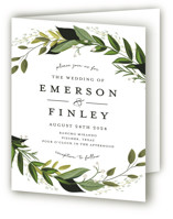 This is a green four panel wedding invitation by Susan Moyal called Vines of Green with standard printing on signature in four-panel.