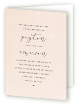 This is a pink four panel wedding invitation by peony papeterie called Simply Perfect with standard printing on signature in four-panel.