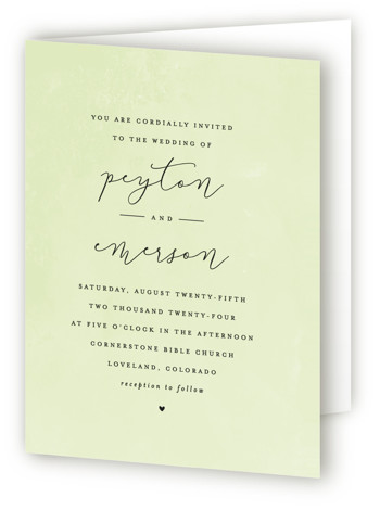 This is a portrait classical, elegant, simple, simple and minimalist, green Savvy Wedding Invitations by peony papeterie called Simply Perfect with Standard printing on Signature in Four Panel Fold Over (Message Inside) format. This simple wedding invited features a subtle ...
