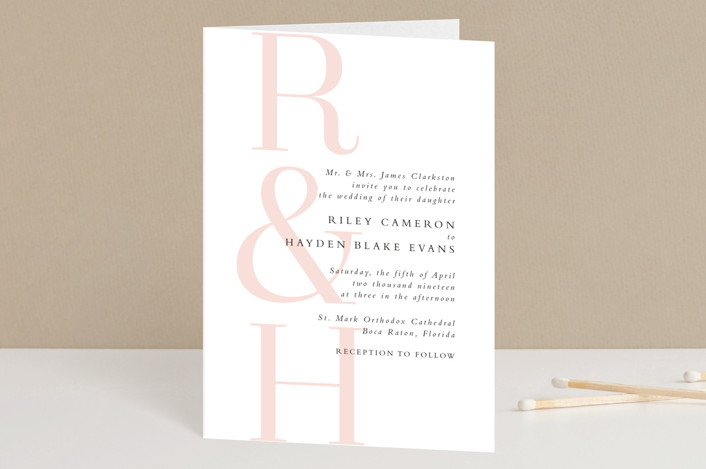 """over and over"" - Modern Four-panel Wedding Invitations in Soft Peach by Lea Delaveris."