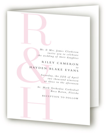 This is a portrait modern, pink Savvy Wedding Invitations by Lea Delaveris called over and over with Standard printing on Signature in Four Panel Fold Over (Message Inside) format. This simple yet elegant design is type driven, featuring the bride's ...