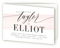 This is a pink four panel wedding invitation by Kristie Kern called Effervescent with standard printing on signature in four-panel.