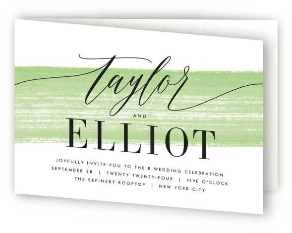 This is a landscape hand drawn, modern, painterly, green Savvy Wedding Invitations by Kristie Kern called Effervescent with Standard printing on Signature in Four Panel Fold Over (Message Inside) format. A modern and fresh typographic design featuring a light painted ...