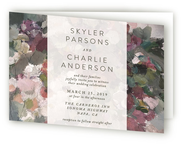 This is a landscape elegant, floral, hand drawn, modern, painterly, purple, green Savvy Wedding Invitations by Phrosne Ras called Gardener's Pallet with Standard printing on Signature in Four Panel Fold Over (Message Inside) format. A painted canvas creates the theme ...