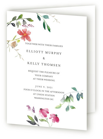 This is a portrait botanical, elegant, floral, modern, simple, white, pink Savvy Wedding Invitations by Mere Paper called Spring Wildflowers with Standard printing on Signature in Four Panel Fold Over (Message Inside) format. Watercolored wild flowers create an asymmetrical frame ...