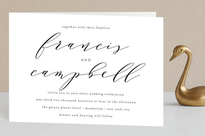 """Simple Elegance"" - Elegant, Classical Four-panel Wedding Invitations in Tuxedo by Phrosne Ras."