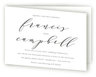 This is a black and white four panel wedding invitation by Phrosne Ras called Simple Elegance with standard printing on signature in four-panel.