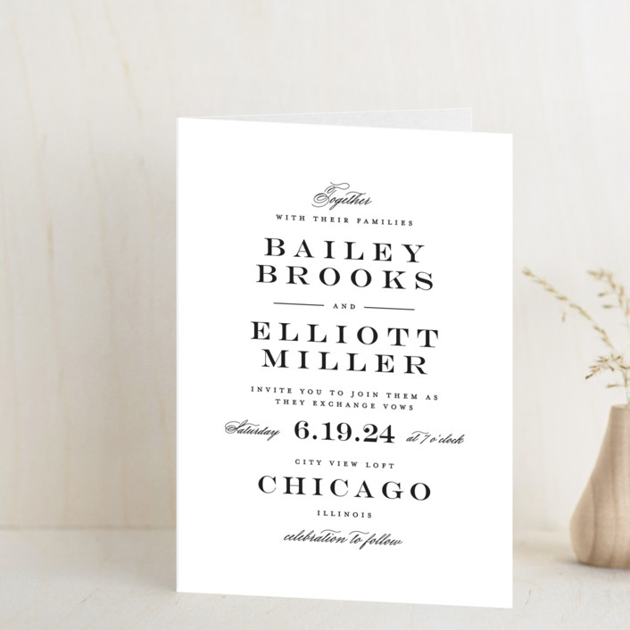 """Downtown"" - Elegant, Classical Four-panel Wedding Invitations in Onyx by Lauren Chism."