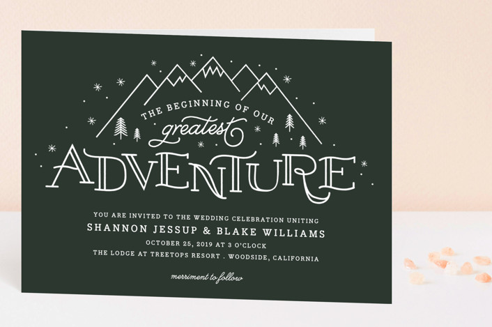"""Adventurous"" - Destination Four-panel Wedding Invitations in Forest by Sarah Brown."