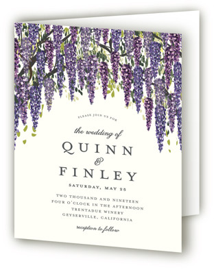 Wisteria Blooms Four-Panel Wedding Invitations