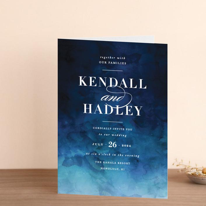 """Indigo Sea"" - Four-panel Wedding Invitations in Ocean by Kelly Schmidt."