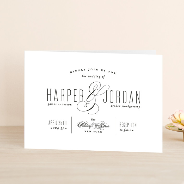 """Scripted Ampersand"" - Formal, Elegant Four-panel Wedding Invitations in Midnight by Roxy Cervantes."