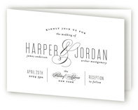 This is a black and white four panel wedding invitation by Roxy Cervantes called Scripted Ampersand with standard printing on signature in four-panel.