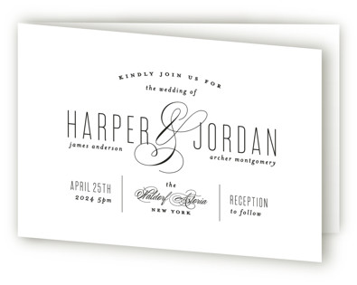 Scripted Ampersand Four-Panel Wedding Invitations