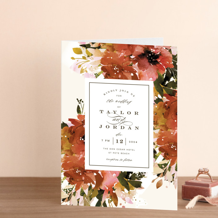 """""""Eden"""" - Four-panel Wedding Invitations in Poinsettia by Lori Wemple."""