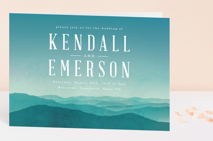 """Misty Mountain Range"" - Destination Four-panel Wedding Invitations in Sky by Kelly Schmidt."