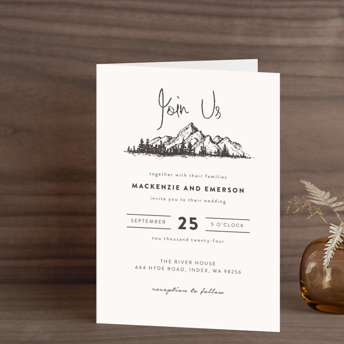 """Mountains"" - Destination, Rustic Four-panel Wedding Invitations in Ivory by Anastasia Makarova."