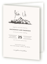 This is a beige four panel wedding invitation by Anastasia Makarova called Mountains with standard printing on signature in four-panel.