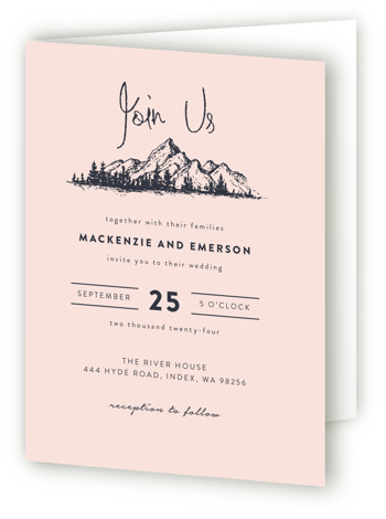 This is a portrait destination, illustrative, rustic, blue, grey, pink Savvy Wedding Invitations by Anastasia Makarova called Mountains with Standard printing on Signature in Four Panel Fold Over (Message Inside) format. Simple design with hand drawing mountains