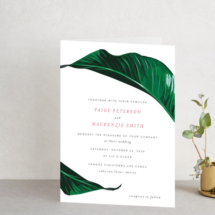 """Mod Palm"" - Simple, Destination Four-panel Wedding Invitations in Pearl by Fig and Cotton."