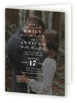 This is a white four panel wedding invitation by Amy Payne called Picture Perfect with standard printing on signature in four-panel.