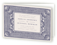 This is a purple four panel wedding invitation by Katharine Watson called Block Print Frame with standard printing on signature in four-panel.