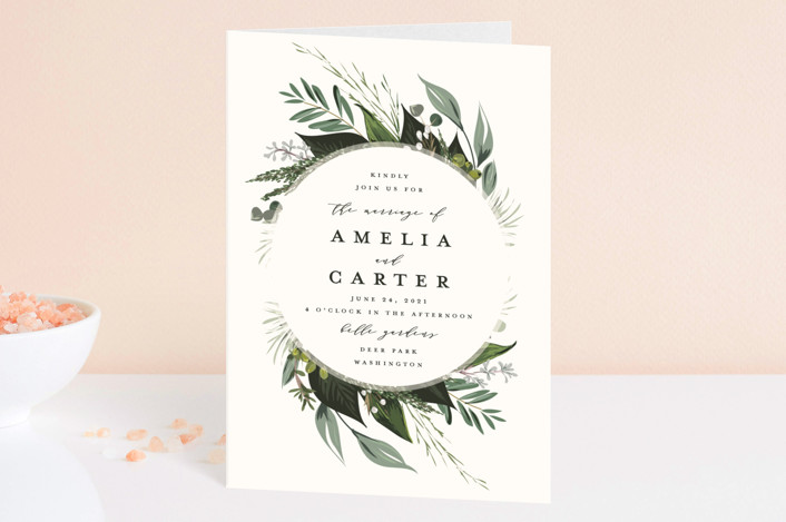 """""""Natures Greens"""" - Four-panel Wedding Invitations in Ivory by Susan Moyal."""