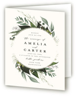 This is a white four panel wedding invitation by Susan Moyal called Natures Greens with standard printing on signature in four-panel.
