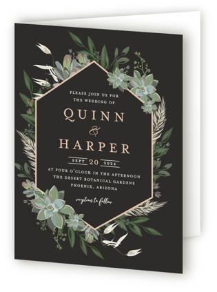 Succulent Surround Four-Panel Wedding Invitations