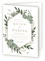 This is a white four panel wedding invitation by Susan Moyal called Succulent Surround with standard printing on signature in four-panel.