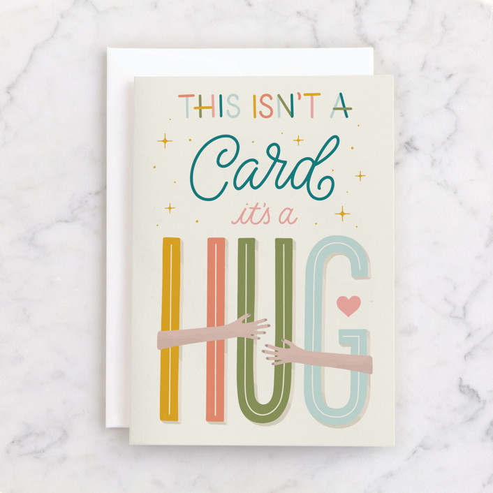 """a Hug for You"" - Individual Sympathy Greeting Cards in Tangerine by Everyday Hooray."