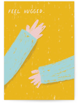 This is a yellow sympathy card by Katja Ja called feel hugged with standard printing on signature in greeting cards.