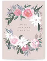 This is a pink sympathy card by Creo Study called Comforting flowers with standard printing on signature in greeting cards.