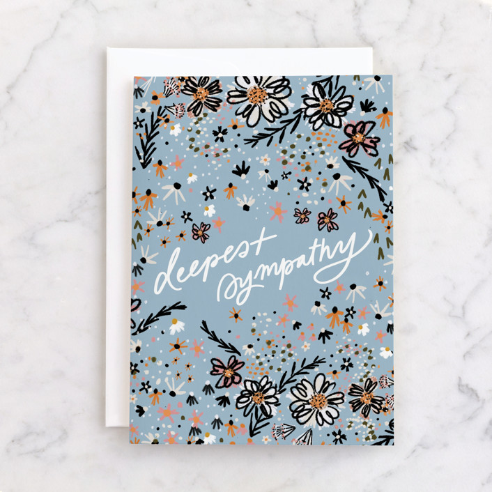 """""""Deeply Loved"""" - Individual Sympathy Greeting Cards in Sky by Marabou Design."""