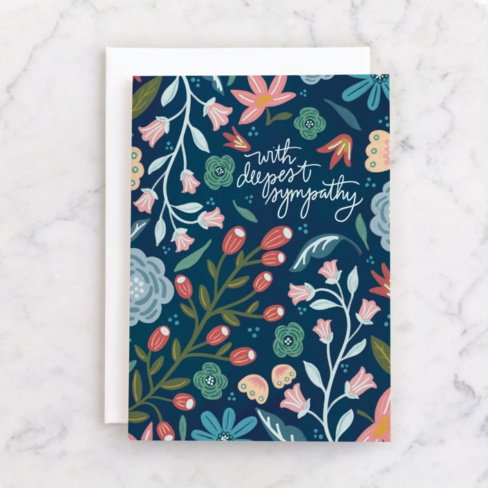 """""""With Deepest Sympathy"""" - Individual Sympathy Greeting Cards in Navy by Noonday Design."""